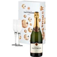 Taittinger - Brut & 2 Glass Pack Champagne Gift Box - 1 Bottle